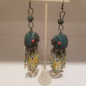 Indian Head and beaded earrings